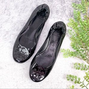 Tory Burch Reva Black Patent Leather Flats